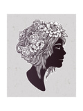 Hand Drawn Beautiful Artwork of a Girl Head with Decorative Hair and Romantic Flowers on Her Head