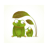 Two Frogs Mother and Baby Childish Animal Cartoon Hand Drawn Watercolor Style Drawing of Animals