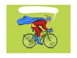 Superhero on a Bicycle Cartoon Pop Art Vector Illustration Human Comic Book Vintage Retro Style
