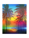 Tropical Sunset on Palm Beach and Fishing Boat  Can Be Used for a Poster  or Printing on Fabric