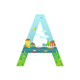 Letter A of the Latin Alphabet for Children Fun Alphabet Letter for Boys and Girls with City  Hous