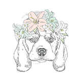 Cute Dog in a Wreath of Roses  Vector Illustration