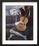 Le vieux guitariste aveugle, vers 1903 Reproduction encadrée par Pablo Picasso