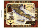Carte d'Italie des vins Reproduction d'art
