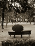 Person Under Umbrella at Madrid Park