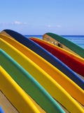 Row of Surfboards at Beach