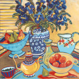 Blue and White with Oranges