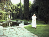 Pope John Paul Ii Walks Alone in the Quiet at Castel Gandolfo