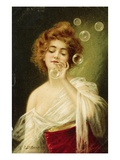 Postcard of Woman Blowing Bubbles by B Zickendraht