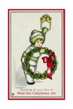 Knocking at Your Door to Wish You Christmas Joy Postcard