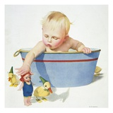Illustration of a Young Child Playing with Bath Toys by EN Donaldson