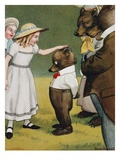 Illustration Depicting a Girl Patting a Little Bear by Peter Newell