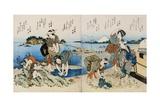 Kakuban Surimono Diptych Women and Boys Gathering Clams on the Seashore Near Enoshima
