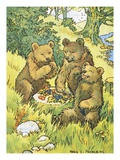 Illustration Depicting Three Picnicking Bears by Rosa C Petherick