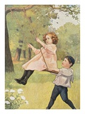 Book Illustration Depicting a Boy Pushing a Girl on a Swing