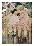 Book Illustration of Two Children Sitting Together in a Wicker Chair by Jessie Willcox Smith