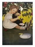 Illustration of a Child Hugging a Cat by Jessie Willcox Smith
