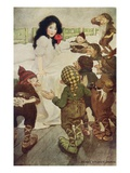 Illustration of the Dwarfs Discovering Snow White by Jessie Willcox Smith