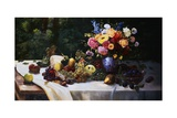 A Bowl of Grapes  Apples and Other Fruit with a Vase of Summer Flowers on a Draped Table