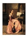 L'Atelier De Corot (Jeune Femme En Robe Rose  Assise Devant Un Chevalet Et Tenait Une Mandoline)