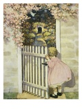 Illustration of a Little Girl Walking Through a Gate by Jessie Willcox Smith