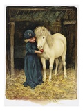 Illustration Depicting a Child Feeding a Pony by Harriet M Bennett