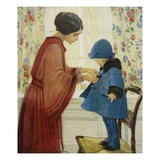 Illustration of a Woman Dressing Her Daughter by Jessie Willcox Smith