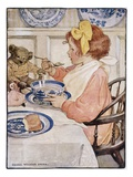 Illustration of a Little Girl Eating Porridge by Jessie Willcox Smith