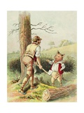 Illustration of One of the Three Little Pigs with a Woodcutter