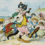 Book Illustration of a Cat Playing a Banjo