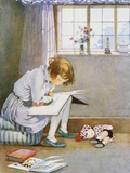 Book Illustration of a Girl Reading by Honor C Appleton