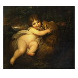 Portrait of the Hon William Lamb Later 2nd Viscount Melbourne  as a Child  Playing with a Dog in a