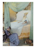 Illustration Depicting Sleeping Beauty and Her Attendants Asleep by Honor C Appleton