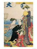Women of the Gay Quarters  Right Hand Panel of a Diptych (Colour Woodblock Pring)