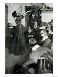 """Anne Hutchinson Preaching in Her House in Boston  1637  Illustration from """"Colonies and Nation"""""""