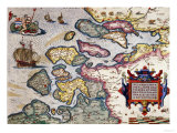 Map of Zeeland  by Abraham Ortelius  Mapmaker of Antwerp  Honoring Research of Jacob Van Deventer