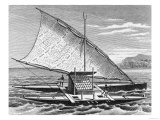 "Fijian Double Canoe  from ""The History of Mankind "" Vol1  by Prof Friedrich Ratzel  1896"