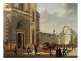 The Entrance to the Musee De Louvre and St Louis Church  1822