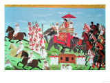 Colonel James Todd Travelling by Elephant Through Rajasthan with His Cavalry and Sepoys (Gouache)