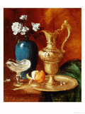 Still Life of a Gilt Ewer  Vase of Flowers and a Facon De Venise Bowl