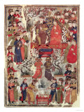 Genghis Khan and His Wife Bortei Enthroned Before Courtiers  by Rashid Ad-Din (1247-1318)
