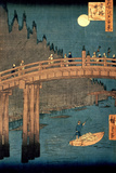 "Kyoto Bridge by Moonlight  from the Series ""100 Views of Famous Place in Edo "" Pub 1855"