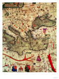 Detail of North Africa & Europe from the Catalan Atlas by Abraham Cresques (1325-87) 1375