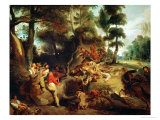 The Wild Boar Hunt  after a Painting by Rubens  circa 1840-50
