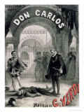"Poster Advertising ""Don Carlos "" Opera by Giuseppe Verdi (1816-1901) Engraved by Telory"