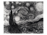 The Starry Night  June 1889 (Oil on Canvas) (B/W Photo)