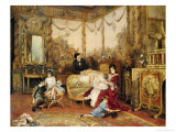 Victorien Sardou (1831-1908) and His Family in Their Drawing Room at Marly-Le-Roi  circa 1875