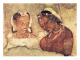 A Princess and Her Servant  Copy of a Fresco from the Ajanta Caves  India