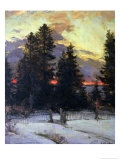 Sunset over a Winter Landscape  circa 1902