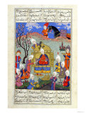"A Messenger Brings News to Siavosh of the Birth of His Son  Illustration from the ""Shahnama"""